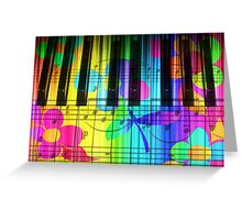 Psychedelic Piano Keyboard and Flowers Greeting Card
