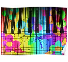 Psychedelic Piano Keyboard and Flowers Poster