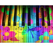 Psychedelic Piano Keyboard and Flowers Photographic Print