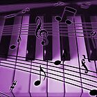 Purple Piano Keyboard and Notes by dreamlyn