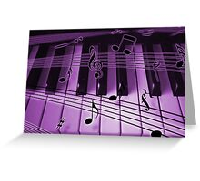 Purple Piano Keyboard and Notes Greeting Card