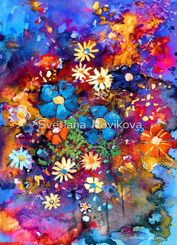 Vibrant abstract flowers painting by svetlana novikova for Bright flower painting