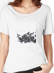 Pigeons in snow Women's Relaxed Fit T-Shirt