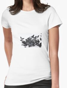 Pigeons in snow Womens Fitted T-Shirt