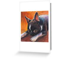 Whimsical Boston Terrier dog painting Greeting Card