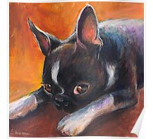Whimsical Boston Terrier dog painting Poster