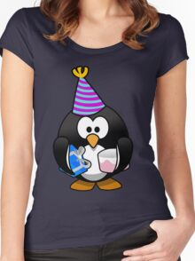 Personalized birthday card penguin geek funny nerd Women's Fitted Scoop T-Shirt