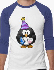 Personalized birthday card penguin geek funny nerd Men's Baseball ¾ T-Shirt