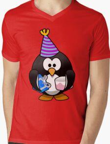 Personalized birthday card penguin geek funny nerd Mens V-Neck T-Shirt