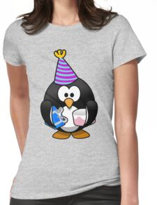 Personalized birthday card penguin geek funny nerd Womens Fitted T-Shirt