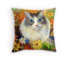 Whimsical Cat painting in flowers Svetlana Novikova Throw Pillow