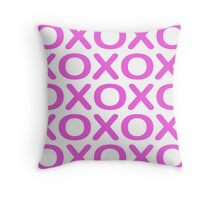 Noughts Crosses Pink Throw Pillow