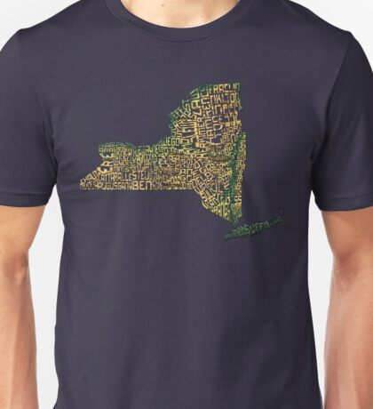 New York State Typographic Topography Map Unisex T-Shirt