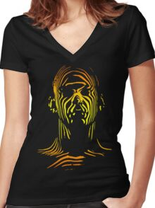 13th Floor Elevators Outline Man Women's Fitted V-Neck T-Shirt