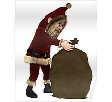 Santa Claus with Sack of Christmas Gifts Poster