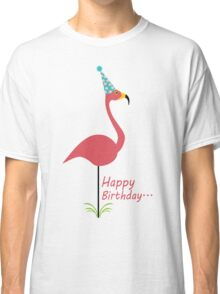 Pink lawn flamingo happy birthday to classy person geek funny nerd Classic T-Shirt