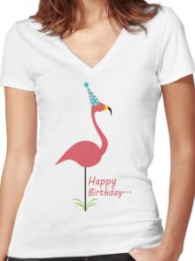 Pink lawn flamingo happy birthday to classy person geek funny nerd Women's Fitted V-Neck T-Shirt