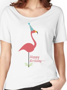 Pink lawn flamingo happy birthday to classy person geek funny nerd Women's Relaxed Fit T-Shirt
