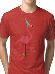 Pink lawn flamingo happy birthday to classy person geek funny nerd Tri-blend T-Shirt