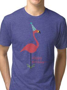 Pink lawn flamingo happy birthday to classy person geek funny nerd Tri-blend T-Shirt