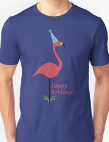 Pink lawn flamingo happy birthday to classy person geek funny nerd Unisex T-Shirt