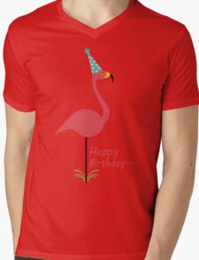 Pink lawn flamingo happy birthday to classy person geek funny nerd Mens V-Neck T-Shirt