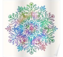 Nature Mandala in Rainbow Hues Poster