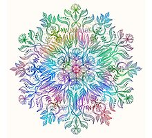 Nature Mandala in Rainbow Hues Photographic Print