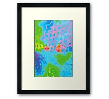 Abstract Blue Green Colorful Water Color Painting Background Framed Print