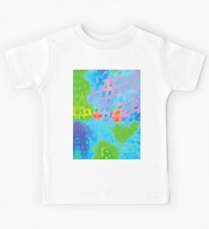 Abstract Blue Green Colorful Water Color Painting Background Kids Tee