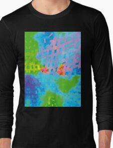 Abstract Blue Green Colorful Water Color Painting Background Long Sleeve T-Shirt