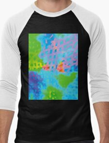 Abstract Blue Green Colorful Water Color Painting Background Men's Baseball ¾ T-Shirt