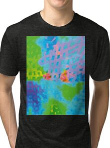 Abstract Blue Green Colorful Water Color Painting Background Tri-blend T-Shirt