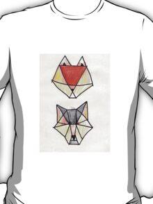 Geometric Wolf And Fox T-Shirt