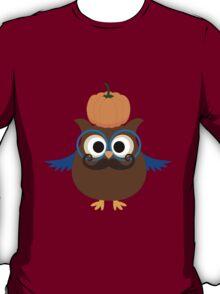 Pumpkin fall owl with mustache geek funny nerd T-Shirt
