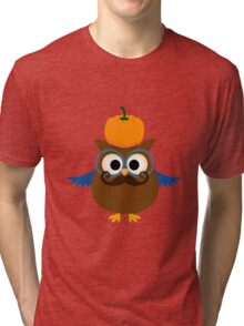 Pumpkin fall owl with mustache geek funny nerd Tri-blend T-Shirt
