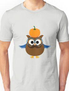 Pumpkin fall owl with mustache geek funny nerd Unisex T-Shirt