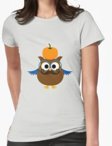 Pumpkin fall owl with mustache geek funny nerd Womens Fitted T-Shirt