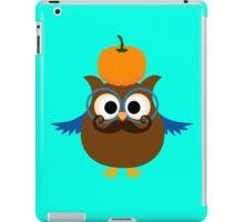 Pumpkin fall owl with mustache geek funny nerd iPad Case/Skin