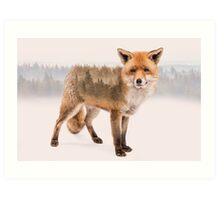 Fox Double Exposure Art Print