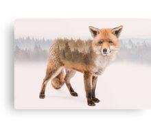 Fox Double Exposure Metal Print