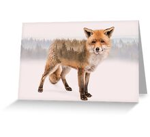 Fox Double Exposure Greeting Card