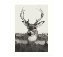 Whitetail Deer Black and White Double Exposure Art Print