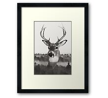 Whitetail Deer Black and White Double Exposure Framed Print