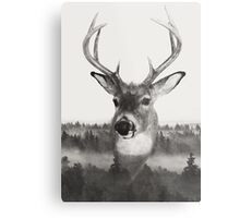 Whitetail Deer Black and White Double Exposure Metal Print
