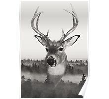 Whitetail Deer Black and White Double Exposure Poster