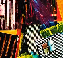 Diagonal Lines and a Window - Grunge Collage 14 by Steve Johnson