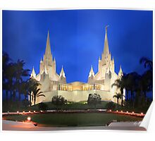 San Diego Temple Evening Rain 20x24 Poster