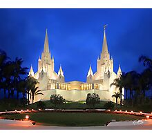 San Diego Temple Evening Rain 20x24 Photographic Print