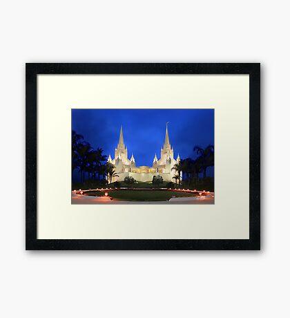 San Diego Temple Evening Rain 20x30 Framed Print